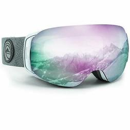 WildHorn Outfitters Adult Roca Ski & Snowboard Goggles, Whit
