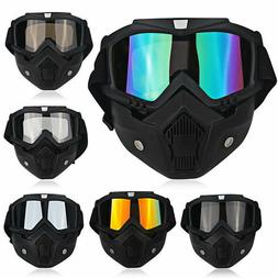 Safety Face Mask Detachable Goggles Anti-UV Wind Dust Glare