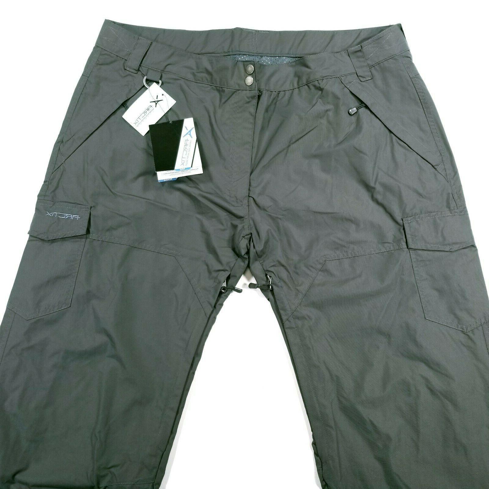 Arctix Mens Snowboard Pants Gray Vented Button Zip Closer