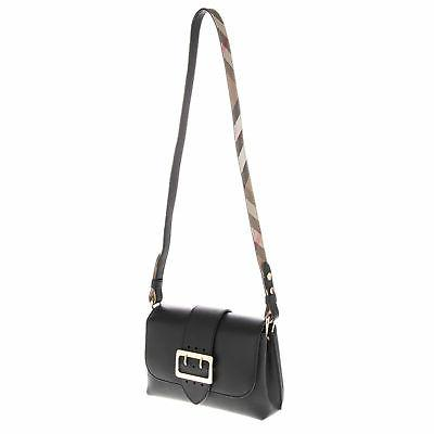 Burberry Soft Smooth Leather Crossbody Buckle Bag Black