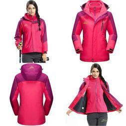 MAGCOMSEN Women's Snow Jacket 3-IN-1 Water Resistant Snowboa