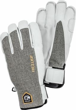 New Hestra Army Sastrugi Leather Ski Snowboard Gloves White