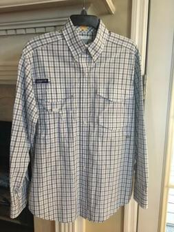 NWT Columbia Mens PFG Bonefish L/S Fishing Shirt S White/Blu