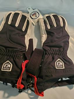 Womens Hestra Army Leather Heli Ski Gloves Black White Size